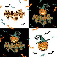 Naadloos patroon. Halloween. Belettering. Grappige cartoon pompoen monster in heks hoed. Patchwork afdrukken. Vector.