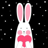Gelukkig, schattig, grappig konijn met hart - winter illustratie. vector