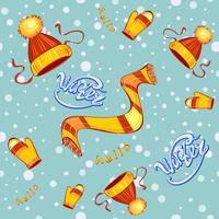 Naadloos patroon. Cap sjaal wanten. Kinderkleding winter. Sneeuwvlokken. Sneeuw achtergrond. Hallo winter. Belettering. Vector.