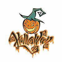 Halloween. Magisch sprookjesachtig lettertype met naar beneden stromende druppels. Allerheiligenkaart. Cartoon pompoen monster in een heksenhoed. Vector.