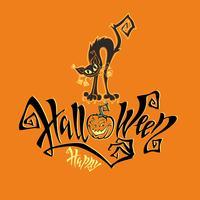 Halloween. Een leuke kaart voor Allerheiligen. Magische magische letters. Grappige cartoon zwarte kat monster. Knuppel. Oranje achtergrond. Vector.