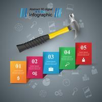 Hamer, schroevendraaier, reparatie pictogram. Zakelijke infographic. vector