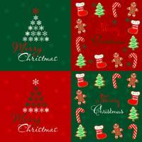 Naadloos patroon. Vrolijk kerstfeest. Lapwerk. Peperkoek. Rood. Groen. Vector.