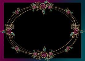 Ovaal frame. Roses. Goud. Wijnoogst. Vector illustratie.