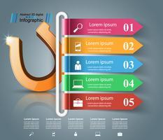 Hoefijzer 3d pictogram - infographic zaken.