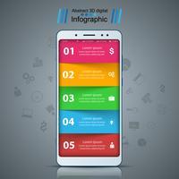 Zakelijke infographic. Smartphone, digitaal gadgetpictogram.