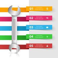 Moersleutel, schroevendraaier, reparatiesymbool. Zakelijke infographic. vector