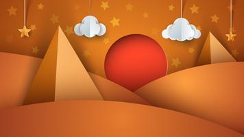 Levenloze woestijn - papieren illustratie vector