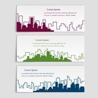 Vectorreeks banners met stadssilhouetten, vlakke lineaire stijl vector