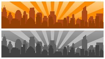 Zonsopgang en moderne silhouetstad in Pop-artstijl, twee kleuren vector