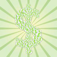 Concept dollarteken gevormd uit papieren stickers met dollars