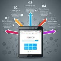 Zakelijke infographic. Digitaal tabletpictogram. vector