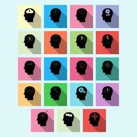Vectorreeks pictogrammen van de hersenenactiviteit met lange schaduw