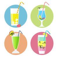 Set van cocktails iconen, vlakke stijl