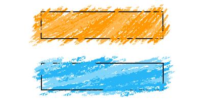 Twee stijlvolle frames, banners met kleuren penseelstreken, vector set