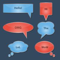 Set van glanzende tekstballonnen vector