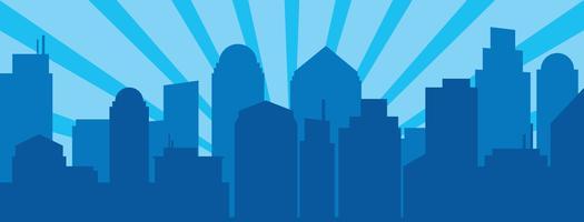 Blauwe zonsopgang en moderne silhouetstad in Pop-artstijl vector