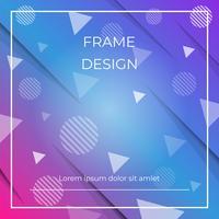 Geometrische dynamische diagonale blauwe, roze achtergrond met driehoeken en cirkelsvormen, document schaduw