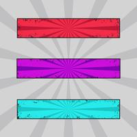 Vectorreeks grungy gekleurde banners, grunge kopballen met retro stralen vector
