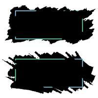 Twee zwarte banners, headers van inkt penseelstreken, vector set