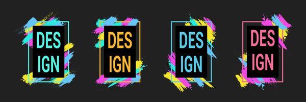 Kleurrijke penseelstreken met frames voor tekst, moderne kunst graphics, hipster stijl