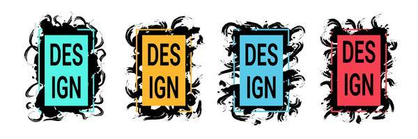 Kleurenkaders met zwarte penseelstreken voor tekst, trendy kunstafbeeldingen