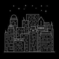 Nacht moderne stad lijntekeningen vector
