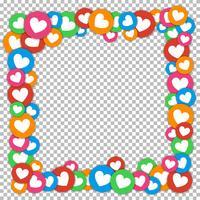 Valentijnsdag frame met verspreide kleur stickers gesneden papier harten vector