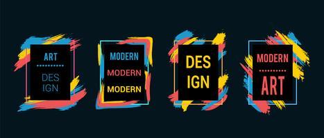 Kaders met kleurrijke penseelstreken voor tekst, moderne kunstafbeeldingen, hipsterstijl