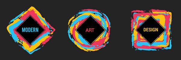 Vectorreeks kleurrijke kaders voor tekst, moderne kunstgrafiek, hipster stijl