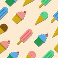 Naadloos patroon met ijs en kopcake