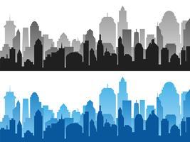 Set van zwarte en blauwe horizontale stadsgezicht achtergronden