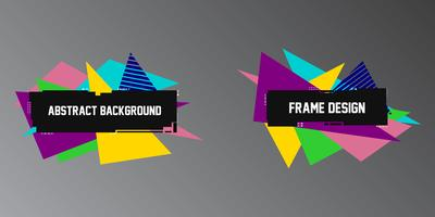 Abstracte glitch achtergronden, twee geometrische banners, frames met heldere driehoeksvormen