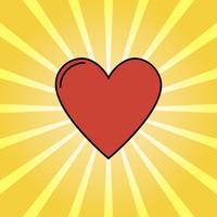 Retro stralen en cartoon hart, liefde achtergrond pop-art stijl vector
