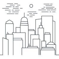 Stijlvol modern stadsgezicht in lijnstijl vector