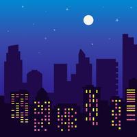 Nachtsilhouet van gebouwen met kleurrijke vensters, volle maan, sterren, beeldverhaalstijl