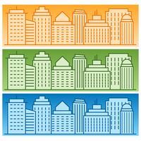 Vectorreeks banners met gekleurde lineaire stadssilhouetten