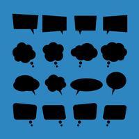 set van vector lege platte tekstballonnen in zwarte stijl