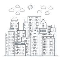 Modern stadsbeeld in lijnstijl vector