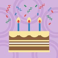 Verjaardagstaart plat ontwerp vector