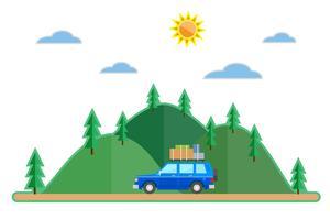 Vlakke stijl auto zomer reis achtergrond vector