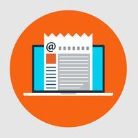 Vlakke stijl icoon van e-mailmarketing concept