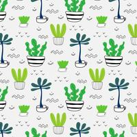 Patroon met hand getrokken planten in potten. Vector illustratie achtergrond.