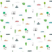 Patroon met abstracte Home Car en Tree ontwerpelementen. Handgemaakte vector illustratie achtergrond.