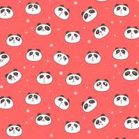 Schattig Panda Vector patroon achtergrond. Leuke Doodle. Handgemaakte vectorillustratie.