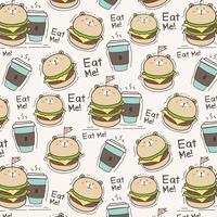 Schattige beer hamburger en koffie kopje patroon achtergrond. Vector illustratie.