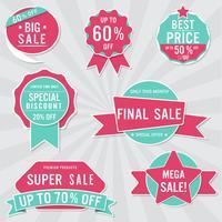 Set van verkoop labels en banner. Retro ontwerp.