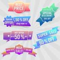 Set van verkoop labels en banner. Kleurrijk ontwerp. vector