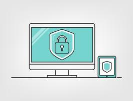 Cybercomputerbeveiliging. Schild met computer en mobiele digitale gegevensachtergrond. informatie privacy idee.