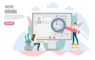 Het inhuren en rekruteringsconcept met karakter Creatief vlak ontwerp voor Webbanner vector